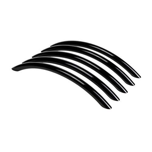 Gedotec Moderner Möbelgriff Schrank-Tür Küchengriff schwarz Kommodengriff rund - LORA | Bogengriff BA 128 mm | Stahl Hochglanz schwarz poliert | 5 Stück - Design Schubladengriff Küche inkl. Schrauben