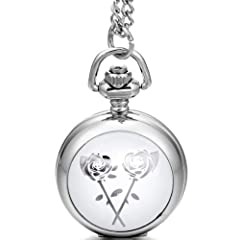 【CLASSY DESIGN】Silver tone pocket watch necklace with classy rose flower pattern,timeless style and delicate texture,elegant and generous. 【APPLICATION】With the excellent workmanship,this pockt watch with necklace can be used as a working watch,also ...