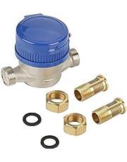 Medidor de agua fría Medidor de flujo de agua con función de rotación arbitraria de 15 mm 1/2 pulgada con accesorios para jardín y uso en el hogar
