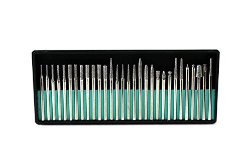 TEMO 30 pcs Fine Diamond Coated Burrs Glass Drill Bit Grit 300 with 1/8 Inch (3 mm) Shank Compatible for Dremel and Other Rotary Tools