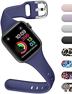 ACBEE Thin Bands Compatible with Apple Watch 38mm 42mm 40mm 44mm Pure Color Decorative Pattern Strap for iWatch Series 4/3/2/1