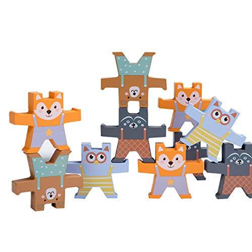 WFF Spielzeug Kinder-Blöcke Stacking Spielzeuge mit 9pcs Bär, Stacker Spiel Gleichgewicht Spiel mit 4 verschiedenen Arten, for 3 + Jahre alt Kleinkinder Lernspielzeug (Color : 1 Set)
