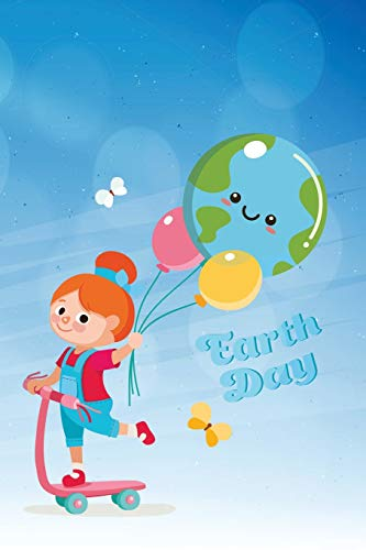 Earth Day: Blank Line Journal, Cute girl on red scooter with earth balloon