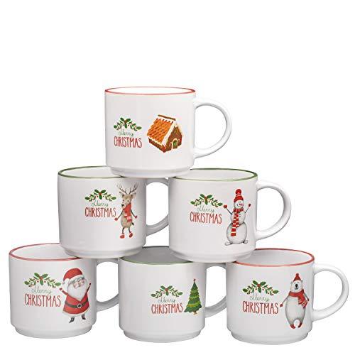 Coffee Mug Set Set of 6 Large-sized 14 Ounce Christmas Theme Ceramic...