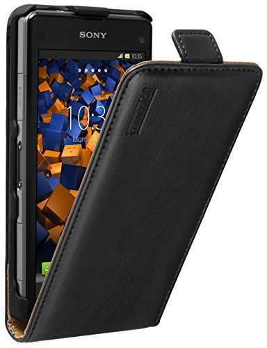 mumbi Echt Leder Flip Case kompatibel mit Sony Xperia Z1 Compact Hülle Leder Tasche Case Wallet, schwarz