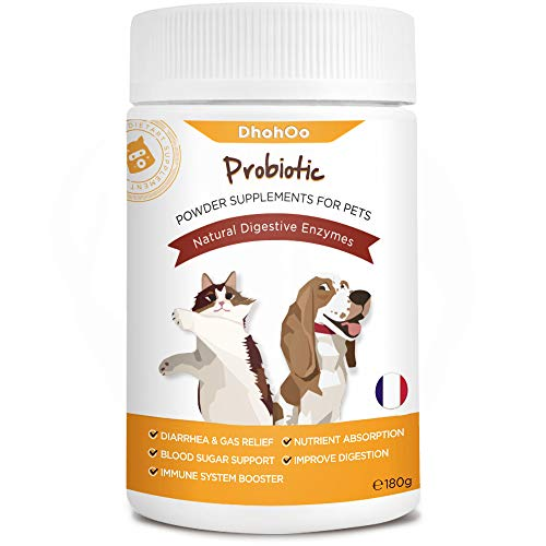 Dhohoo Probiotics for Dogs and Cats, Natural Digestive Enzymes & Tumeric for Dogs with Diarrhoea & Other Digestive Disorders- Powder Supplements for Pets with Fiber & Brewer's Yeast