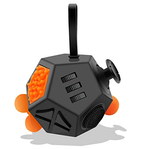 Fidget Dodecagon –12-Side Fidget Cube Relieves Stress and Anxiety Anti Depression Cube for Children and Adults with ADHD ADD OCD Autism (A1 Black)