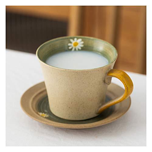 Tazas de Espresso Patrón pintado a mano taza de flor creativa taza de café simple taza platillo cuchara conjunto taza de té para amigos, familia, novia 210ml Juegos de Cafe de Porcelana