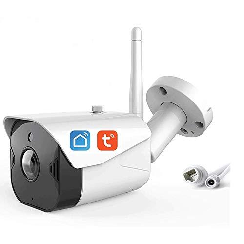 HLSH Cámara De Bala Al Aire Libre WiFi, Tuya Smart Life 1080p Cámara IP Inalámbrica, Visión De La Noche De Infrarrojos Seguridad De Detección De Movimiento CCTV Vigilancia