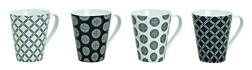 Tassen 4 Stück, 10 cm, 250 ml, 4er Set   Kaffeetassen in schwarz/weiß gepunktet und kariert   Kaffeebecher, 4-teilig