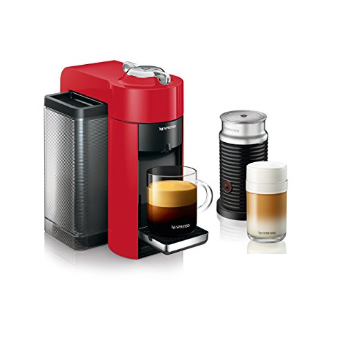 Nespresso by De'Longhi ENV135RAE and Espresso Machine Bundle with Aeroccino Frother by De'Longhi, Red