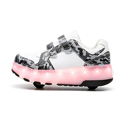 YSTHEZ Zapatillas de deporte para niños y niñas, transpirables, con carga USB, con dos ruedas, zapatos para principiantes cumpleaños, mejor regalo, color blanco, 31EU