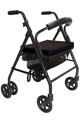 KMINA - Rollator lichtgewicht en opvouwbaar, Rollators binnen en buiten, Rollator lichtgewicht 4 wielen, Rollator met zitje, Rollator met veiligheidsbeugel, KMINA Comfort Zwart - Drukrem