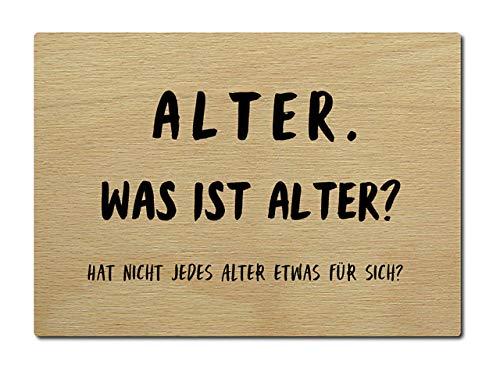 Interluxe briefkaart van hout, wat is leeftijd? Kaart citaat spreuk verjaardag