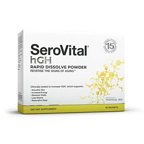 41kdTgFU9pL. SL500  - SeroVital Rapid Dissolve Powder, 30 Ct, Tropical Mix - Anti Aging Supplement Boosts Critical Peptide Associated with Increased Energy, Smoother Skin