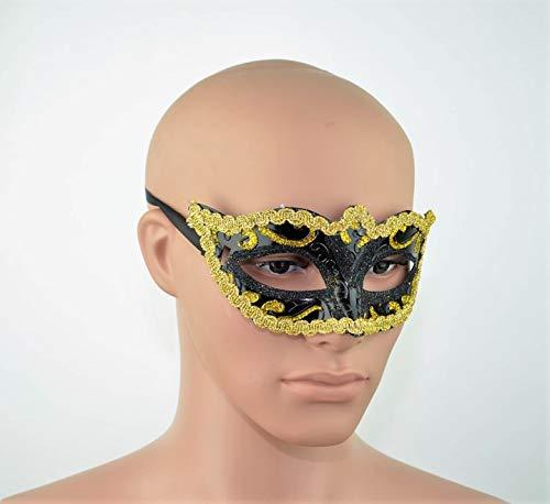 SHATCHI Máscaras venecianas para Halloween, fiesta de graduación, carnaval, color negro y dorado, negro