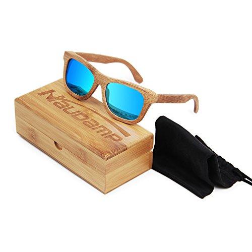 Naudamp Gafas de sol polarizadas de bambú Hombres Mujeres Gafas de madera para deportes acuáticos y actividades al aire libre
