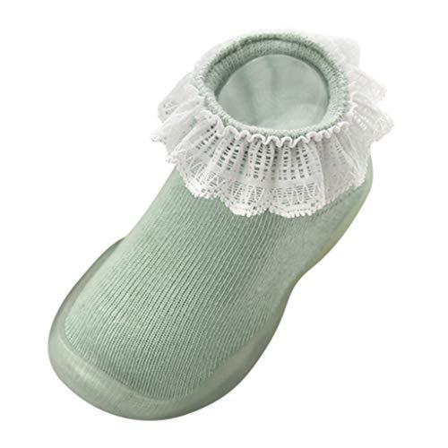 Sensail Chaussettes pour enfants en dentelle de couleur unie, semelles en caoutchouc chaussures pour tout-petit automne et hiver chaussettes chaudes et antidérapantes