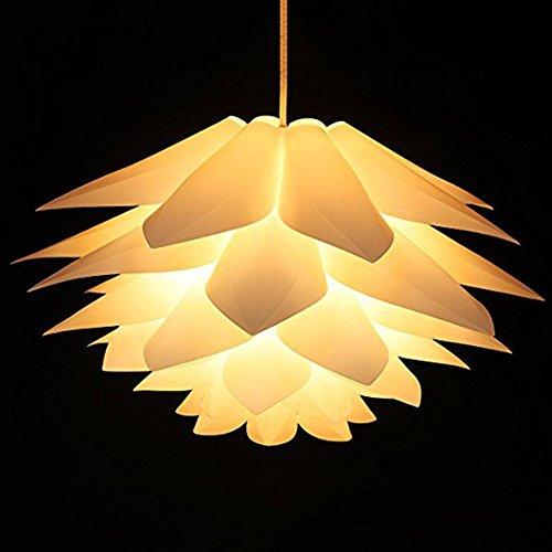 LED Pendentif Lampe Lotus Jardin Lustre PP Lampe Cheminée DIY Set Plafond Lampe Étude Salon Chambre Hall d'entrée Restaurant Décoration ÉclairageBlanc (sans ampoule)