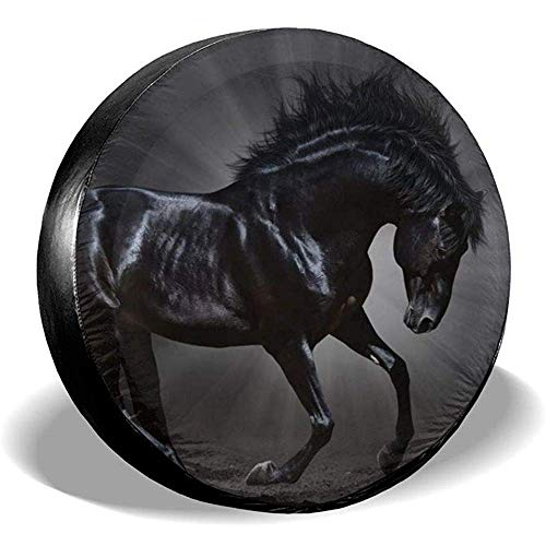 N/A Spare Tire Cover-Waterproof Universele Wiel Tire Cover Protector-Handsome Black Horse Graphics Fit Voor Trailer, Suv En Veel Voertuig