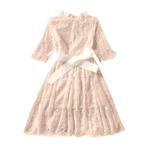 Bébé Fille Princesse Jupe,Ewendy Partie de Princesse de Dentelle de Fleur de Tulle Robes Convient pour 12 Mois-6 Ans (5-6 Ans, Beige)