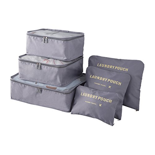 Organizador de Viaje Organizadores para Maletas, EASEHOME 3Pcs Cubos de Embalaje + 3pcs Bolsas de Almacenamiento para Ropa Zapato Cosmético Impermeable Bolsa de Lavandería, Gris