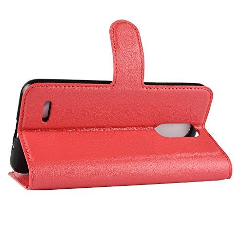 DAMAIJIA Funda Móvil For LG K9 2018 Carcasas Book Case Flip Cuero de PU Silicone Wallet Protector Teléfono Back Cover For LG K9 K 9 X210 LGK9 LGX210 LM-X210NMW Cubierta Celular Accesorio (Red)
