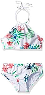 Kanu Surf Girls' Big Mahina Beach Sport Halter Bikini 2-Piece Swimsuit, Leonie Floral White, 12