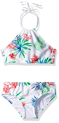 Kanu Surf Girls' Big Mahina Beach Sport Halter Bikini 2-Piece Swimsuit, Leonie Floral White, 14