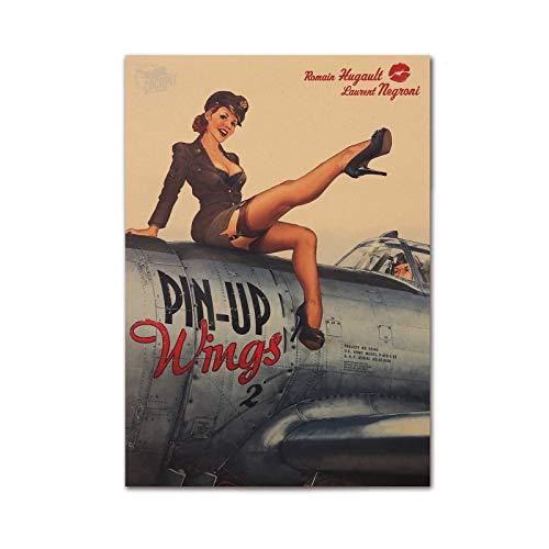 Vintage WW2 Pin Up Girl Poster 50,8 x 35,6 cm ungerahmt Kraftpapier Pinup Wings World War 2 Strümpfe Retro Old Style Us Air Force Recruitment Wall Decor Military Fan Geschenk Art Home (ungerahmt)