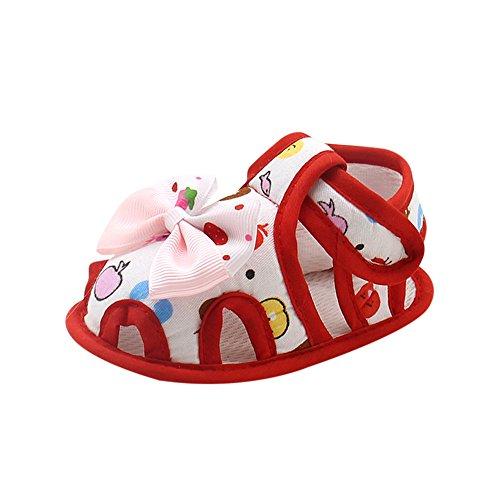 Dtuta Baby Bogen Weichen Boden Kleinkind Schuhe Sandalen, Baumwolle Bedruckte Babyschuhe, Kleinkind Kind Baby MäDchen Rose Bowknot Gummiband Neugeborenen Wanderschuhe,Babyschuhe MäDchen Sommer