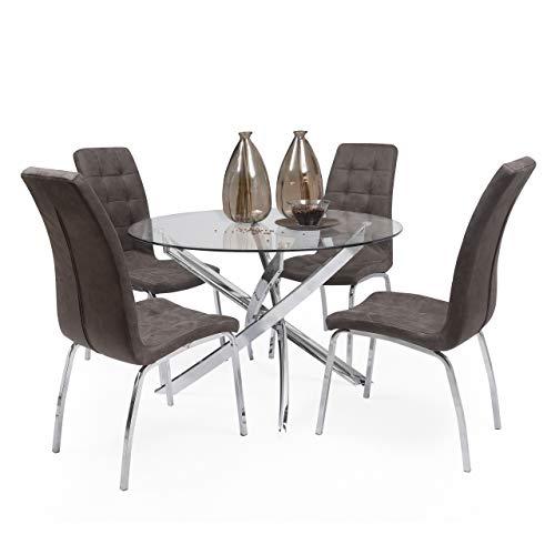Conjunto de Comedor Dalila Mesa Redonda de Cristal de 110 cm de diámetro y 4 sillas de Polipiel y Patas de Acero (MARRÓN Vintage)