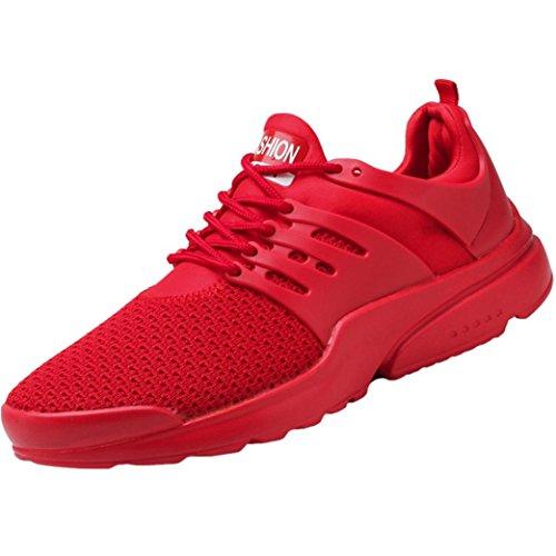 Zapatillas de Casa para Hombre Yesmile Moda Zapatios de Correr Hombre Sandias de Malla Calzados de Deporte con Cordones Ocasionales (44, Rojo)