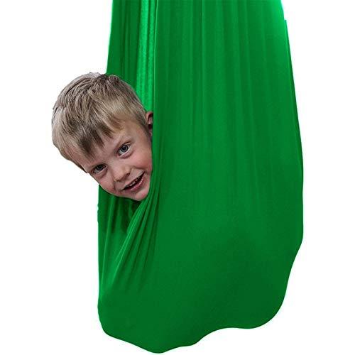 Jlxl Hamaca para Niños para Terapia De Interior Swing Kids Child Pod Chair Nook Carpa Al Aire Libre Asiento Colgante Carga 200Kg Regalo (Color : Dark Green, Size : 100x280cm/39x110in)