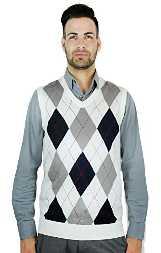 Blue Ocean Argyle Sweater Vest-Small White