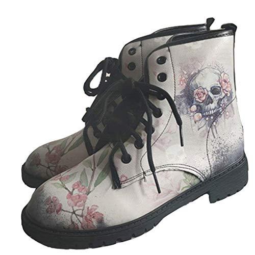 CRMY Winterstiefel Damen Winterschuhe Stiefel Stiefelette Gefütterte Schneestiefel Draussen Boots Arbeitsschuhe Arbeitsstiefel,Frauen Britische Mode Werkzeugstiefel Mit Totenkopf