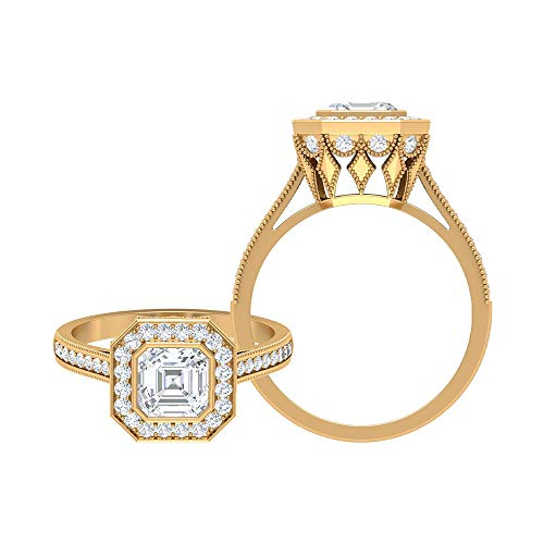 Rosec Jewels 14 quilates oro amarillo asscher Round Brilliant Moissanite