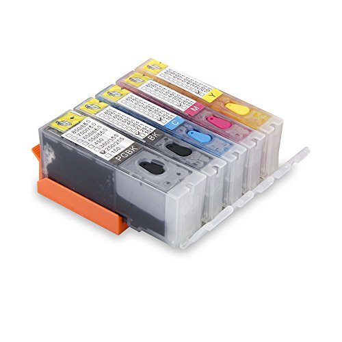 Aomya 5 Pack PGI-250 CLI-251 Refillable Ink Cartridge Full Ink with Auto Reset Chip Replacement for Canon Pixma IP8720 iX6820 MG7520 MG5500 MX922 MX92