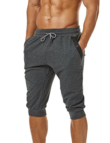 Ouber Men's 3/4 Joggers Pants Slim Fit Training Workout Gym Shorts with Zipper Pocket (M,Grey)