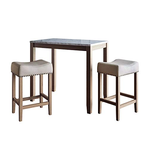 Nathan James Viktor 3 Piece Set, Heigh Kitchen Counter Pub Dining or Breakfast Table with Marble Top Fabric Wood Base Seat, Light Beige/Light Brown