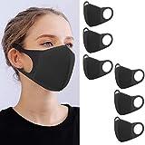 YMHPRIDE 6 Packs Masque Bouche Anti-Poussière Visage Mode Masque Noir, Masques Réutilisables pour...