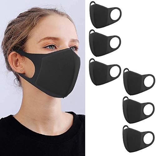 YMHPRIDE 6 Packs Masque Bouche Anti-Poussière Visage Mode Masque Noir, Masques Réutilisables pour Femmes et Hommes