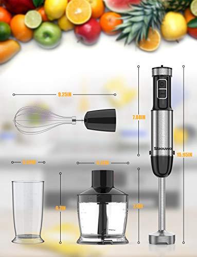 Stabmixer-Set-Slaouwo-Puerierstab-Edelstahl-Set-800W-Stabmixer-Edelstahl-4-teiliges-Zubehoer-Set-geeignet-fuer-die-Zubereitung-von-Babynahrung-Salaten-Suppen-und-Gemuese