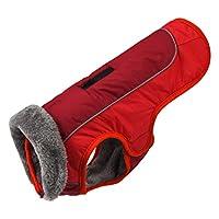 POPETPOP 犬の冬秋暖かい服と豪華な襟防水綿子犬のコート赤いペットの衣装犬のフード付きスリッカーポンチョクリスマスペットの服大型中型犬l