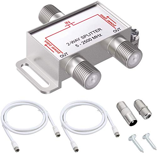 ESYNiC 2 Way TV CATV Broadband Splitter 2500MHz   2 Vie Cavo Splitter F-Connettore Adattatore in Metallo per Modem Virgin Dbox