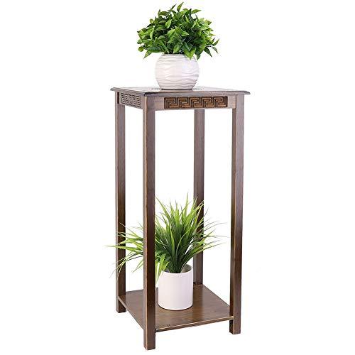 Medla Mesa Auxiliare para Salon de Bambú, Estanteria Multifuncional de 2 Niveles Soporte para Plantas Soporte para Macetas...