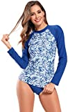 SHEKINI Alla Moda Stampati Costume da Bagno Tankini Due Pezzi Donna Manica Lunga Bikini Protezione Solare Rash Guard UV per Beach Surf Immersione Swim Camicia(M,A-Blu Reale)