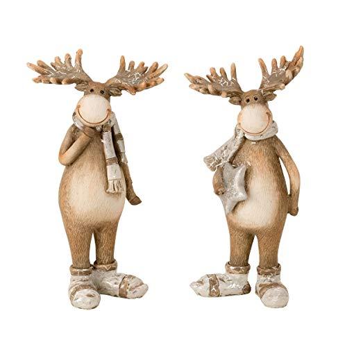 2 Stück Elch Figuren Stehend 18 cm Braun Weihnachten Dekoration