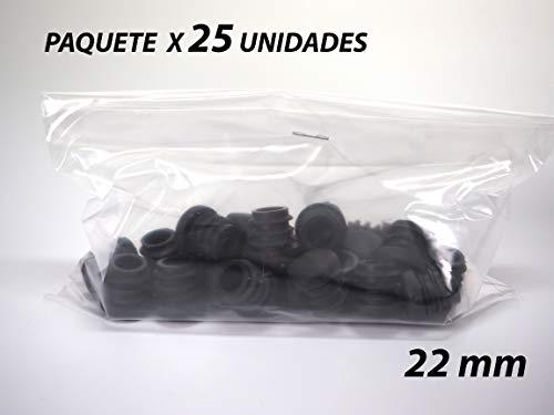 Paquete 25 Contera de Goma Redonda Interior Acanalada para Tubos | Estriada | 22mm | Negro | Para Cilindro | Sillas Patas Bastones