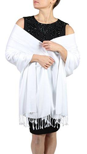 York Shawls Pashmina Schal Tuch für Frauen - Quastenveredelung - Kostenloser Aufhänger (Über 20 Farben) Handgefertigt (Weiß)